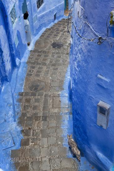 Narrow Lane, Chefchaouen, Morocco-Peter Adams-Photographic Print