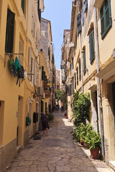 Narrow Street with Lady Sweeping, Old Town, Corfu Town-Eleanor Scriven-Photographic Print