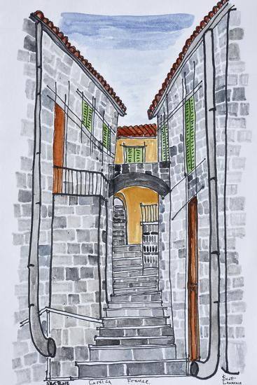 Narrow streets with 16th century F286buildings, Sartene, Corsica, France-Richard Lawrence-Premium Photographic Print