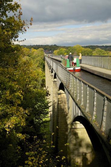Narrowboat Crossing the River Dee in Autumn on the Pontcysyllte Aqueduct, Denbighshire-Peter Barritt-Photographic Print