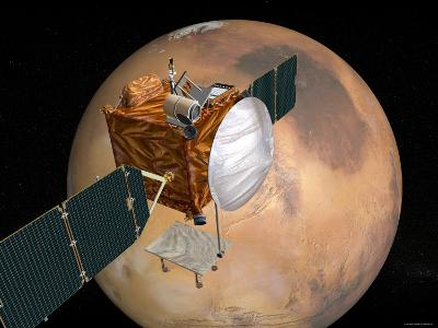 Nasa's Mars Telecommunications Orbiter in Flight around Mars-Stocktrek Images-Photographic Print