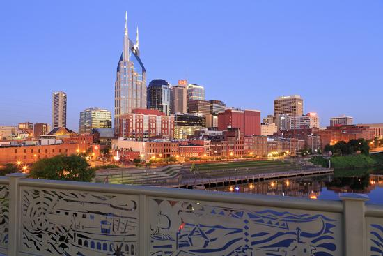 Nashville Skyline and Shelby Pedestrian Bridge-Richard Cummins-Photographic Print
