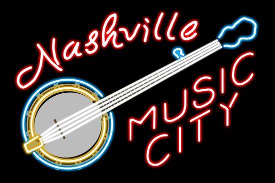 Nashville, Tennesse - Neon Banjo Sign-Lantern Press-Art Print