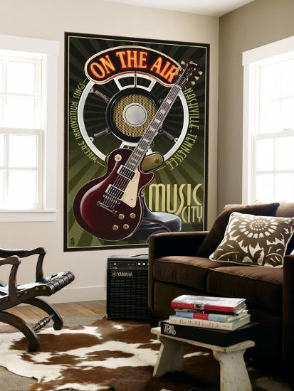 Nashville Tennessee Guitar And Microphone Wall Mural By Lantern
