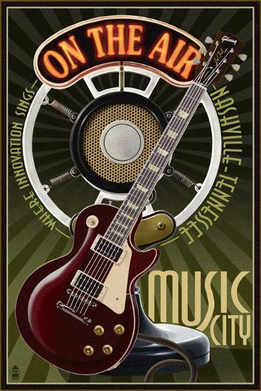 Nashville, Tennessee - Guitar and Microphone-Lantern Press-Art Print