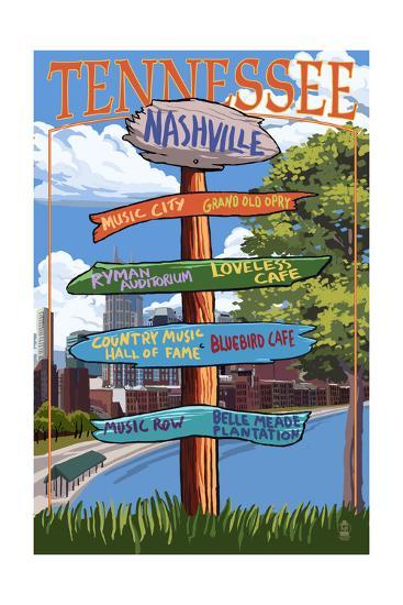 Nashville, Tennessee - Sign Destinations Ver 3-Lantern Press-Art Print