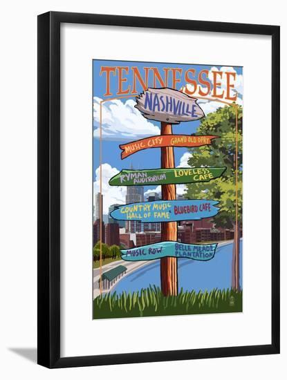Nashville, Tennessee - Sign Destinations Ver 3-Lantern Press-Framed Art Print