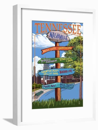Nashville, Tennessee - Sign Destinations Ver 3-Lantern Press-Framed Art Print