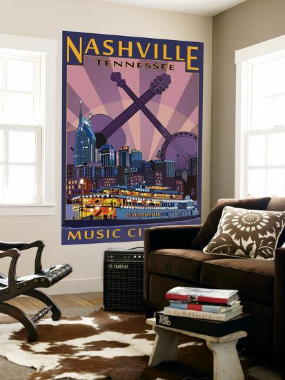 Nashville, Tennessee - Skyline at Night-Lantern Press-Wall Mural