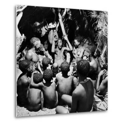 Chief Acts Out a Story to Bushman Children, Southern Kalahari Desert in Central Southern Africa
