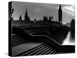 Houses of Parliament Seen Across Westminster Bridge at Dawn, Regarding Poet William Wordsworth by Nat Farbman