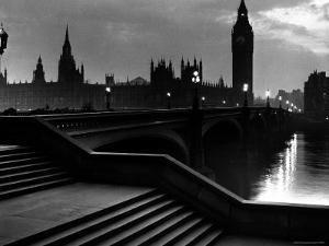 Houses of Parliament Seen Across Westminster Bridge at Dawn, Regarding Poet William Wordsworth by Nat Farbman
