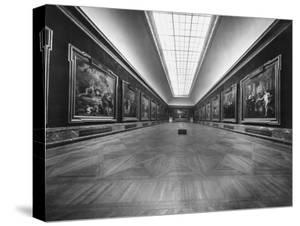 Long Gallery of Paintings at Louvre Museum with Skylight Ceilings by Nat Farbman