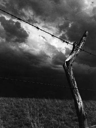 On a Small Farm, Ominous Clouds Overhead, Outlined by Barbed Wire Fencing