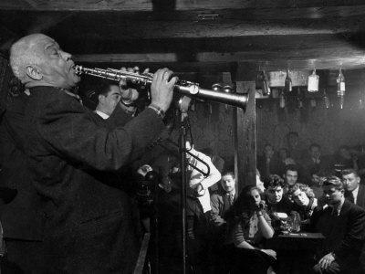 "Sidney Bechet Performing in Small Basement Club ""Vieux Colombier"""