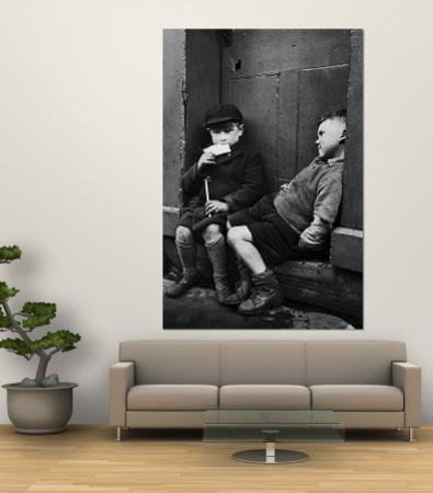 Two Boys Sitting on Doorstep by Nat Farbman