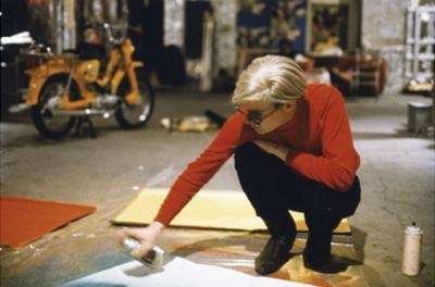 Andy with Spray Paint and Moped, The Factory, NYC, circa 1965