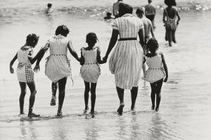 Mother and 4 Daughters Entering Water at Coney Island, Untitled 37, c.1953-64 by Nat Herz