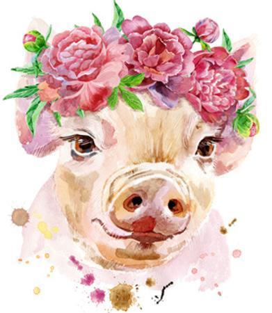 Watercolor Portrait of Mini Pig by Natalia Andreichenko
