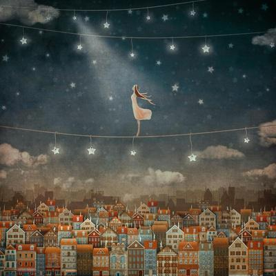Illustration of Cute Houses and Pretty Girl  in Night Sky