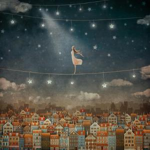 Illustration of Cute Houses and Pretty Girl  in Night Sky by natalia_maroz