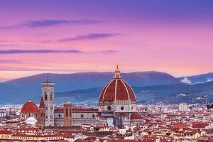 Beautiful Florence Sunset City Skyline with Florence Duomo Panorama of Florence, Italy by Natalia Zakharova
