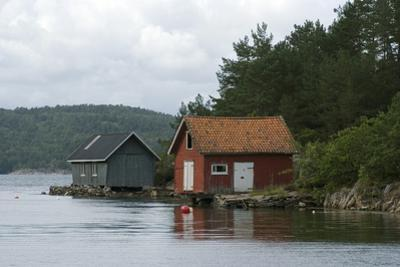 Boathouses in the Sea 'Fjords' at Hovag, Near Kristiansand, Norway by Natalie Tepper