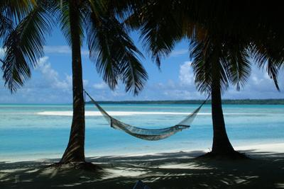Hammock on tropical beach with palm trees by Natalie Tepper