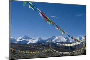 Himalaya Range with Prayer Flags in the Foreground, Tibet, China by Natalie Tepper