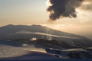 Plume of Ash from Eyjafjallajokull Volcano, Silhouetted Against Sunset, Southern Iceland by Natalie Tepper