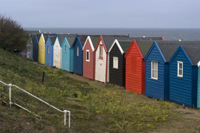 View, Coloured, Beach, Huts, Bay, Sea, Embankment, Southwold, Suffolk, England by Natalie Tepper