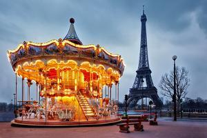 Illuminated Vintage Carousel close to Eiffel Tower, Paris by Nataliya Hora