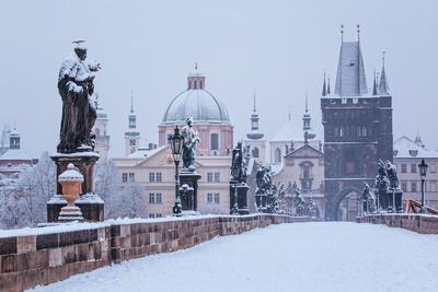 Snow Morning at Charles Bridge in Winter, Prague, Czech Republic
