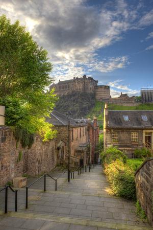 View on Edinburgh Castle from Heriot Place, Edinburgh, Scotland, UK