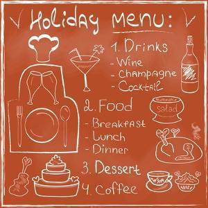 Holiday Food Menu Set Hand Drawn on Chalkboard by Natasha_from_Russia