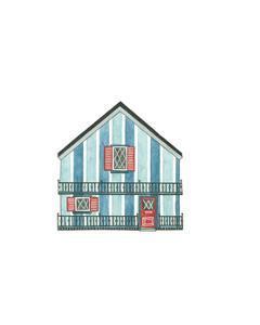 Little Striped Houses Cyan by Natasha Marie