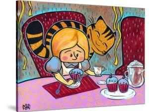 Alice and The Cheshire At Tea by Natasha Wescoat
