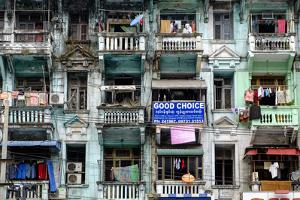 Old Building, Old City, Yangon (Rangoon), Myanmar (Burma), Asia by Nathalie Cuvelier