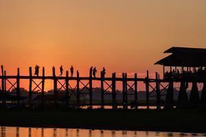 Sunset over U Bein Bridge, Taungthman Lake, U Bein, Amarapura, Myanmar (Burma), Asia by Nathalie Cuvelier