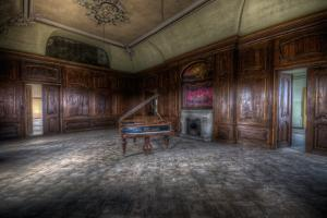 Abandoned Building Interior with Decorative Panelling and Old Grand Piano by Nathan Wright