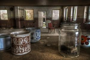 Old Mugs in Abandoned Interior by Nathan Wright