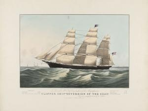 """The Clipper Ship """"Sovereign of the Seas"""", 1852 by Nathaniel Currier"""