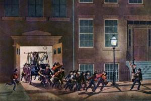 The Night Alarm, the Life of a Fireman, 1854 by Nathaniel Currier