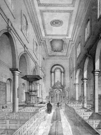 Interior of St Bartholomew-By-The-Exchange, City of London, C1835