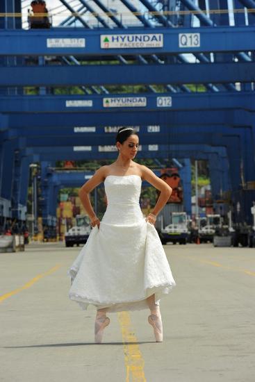 National Ballet Of Panama Dancer In Her Wedding Dress In The City Port-Kike Calvo-Photographic Print