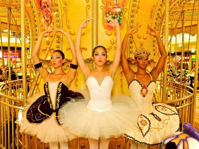 National Ballet of Panama Dancers Pose as Dolls at a Merry Go Round-Kike Calvo-Photographic Print