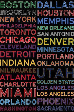 National Basketball Association Cities Colorful