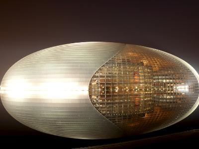 National Centre for the Performing Arts, Egg Shape Reflection, Illuminated During National Day Fest-Kimberly Walker-Photographic Print