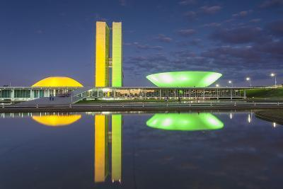 National Congress at Dusk, Brasilia, Federal District, Brazil-Ian Trower-Photographic Print