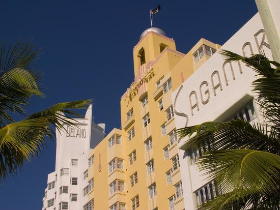 National, Delano, and Sagamore Hotels in Art Deco Style, South Beach, Miami, Florida, USA-Nancy & Steve Ross-Photographic Print
